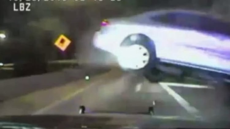 Driver smashes police car after 109-mph chase