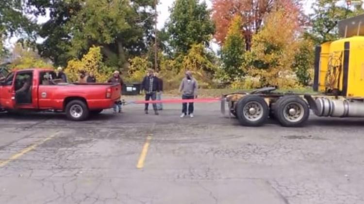 Chevy Silverado takes on big rig in tug-of-war battle
