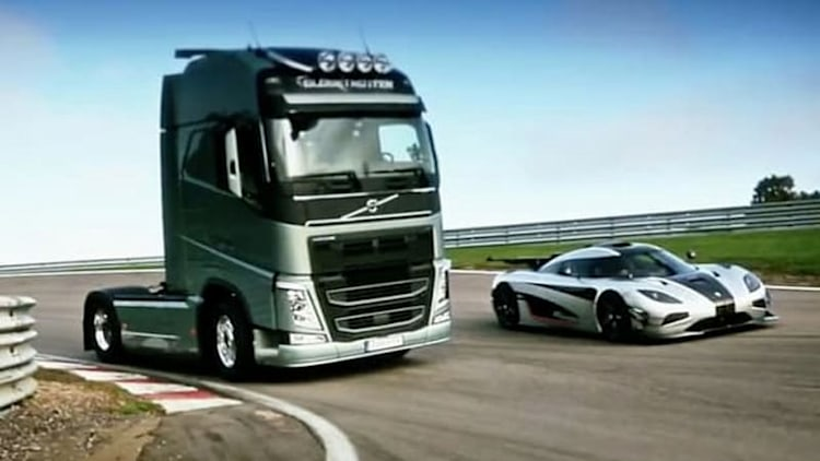 How does a massive Volvo truck compare to a Koenigsegg on a track?