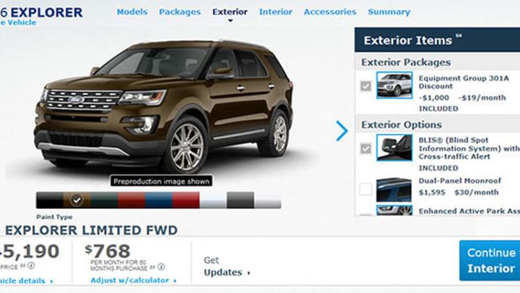2016 Ford Explorer configurator reveals $30,700* base price, Platinum starts at $52,600*