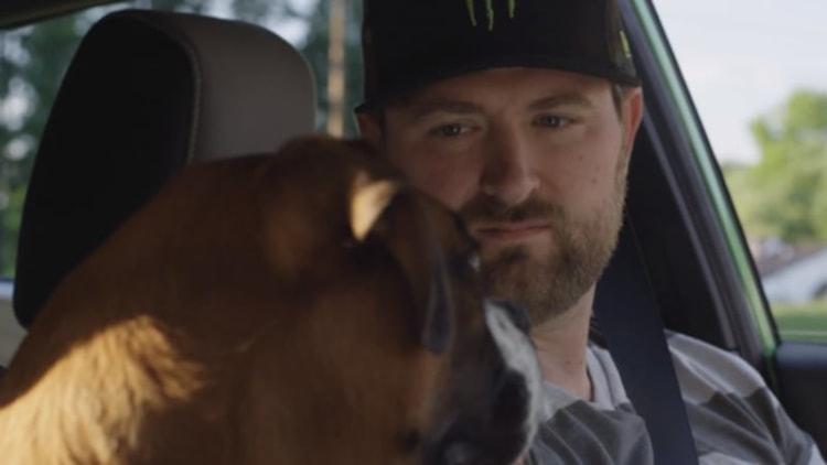 Vaughn Gittin Jr. takes his dog for a drift