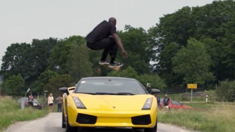 Swedish man bests Kobe Bryant by jumping speeding Lambo