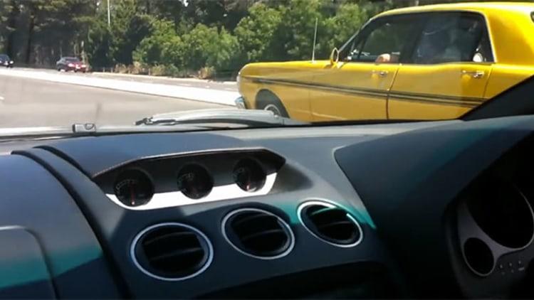 Aussie Ford Falcon GT shows its rear end to Lamborghini Gallardo