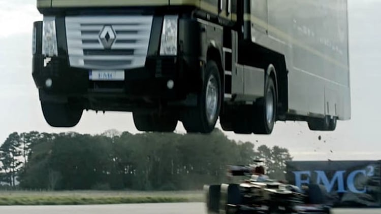 Behind the scenes of Lotus' spectacular truck-over-F1 jump