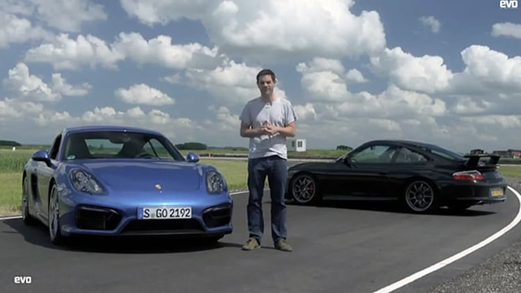Porsche Cayman GTS in track battle with 996 GT3