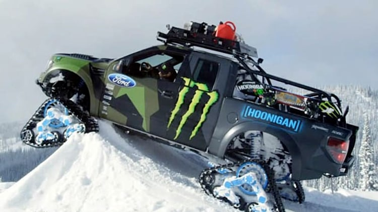 Ken Block hoons his Ford F-150 RaptorTrax on the slopes