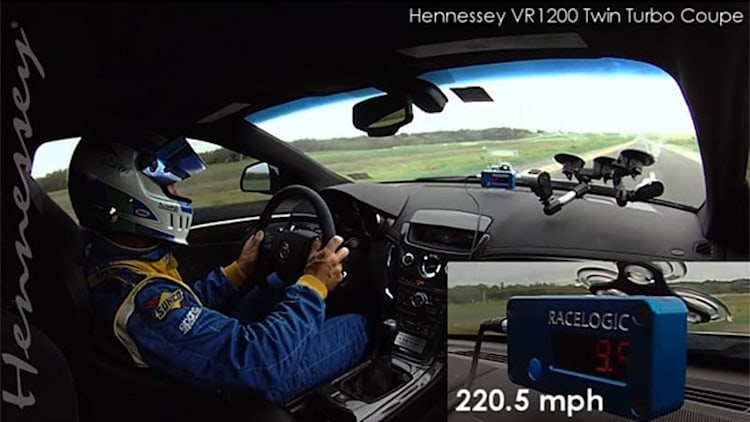 Watch Hennessey-tuned Cadillac CTS-V run over 220 mph on a Texas road