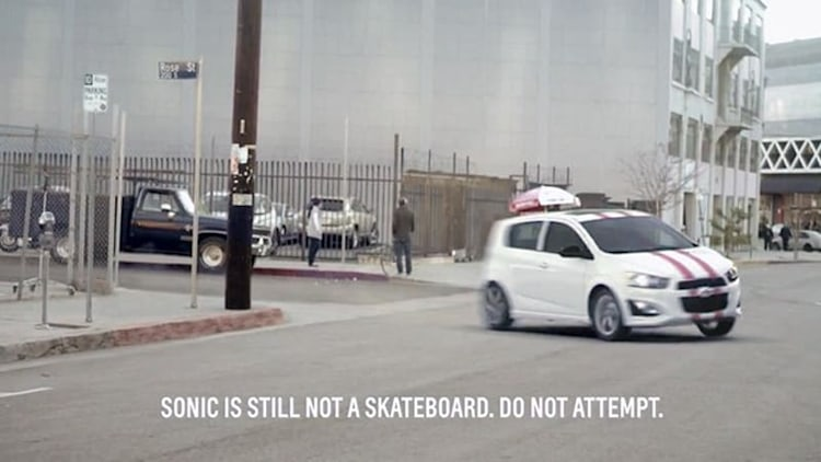Chevy Sonic shreds like a skateboard