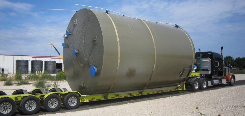 750 BBL tank built by tank partners loaded on a trailer ready for shipping