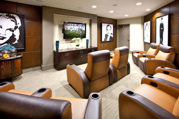 Get comfortable and watch the latest movie or game in our Resident Movie Theater.