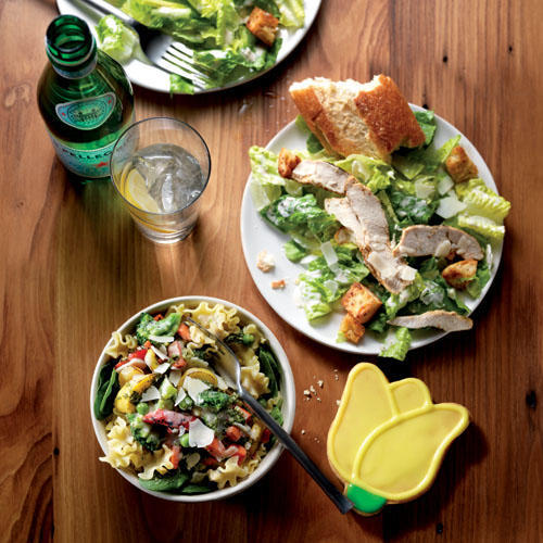 New Pasta Primavera and Chicken Caesar Salad, paired with a Tulip Cookie