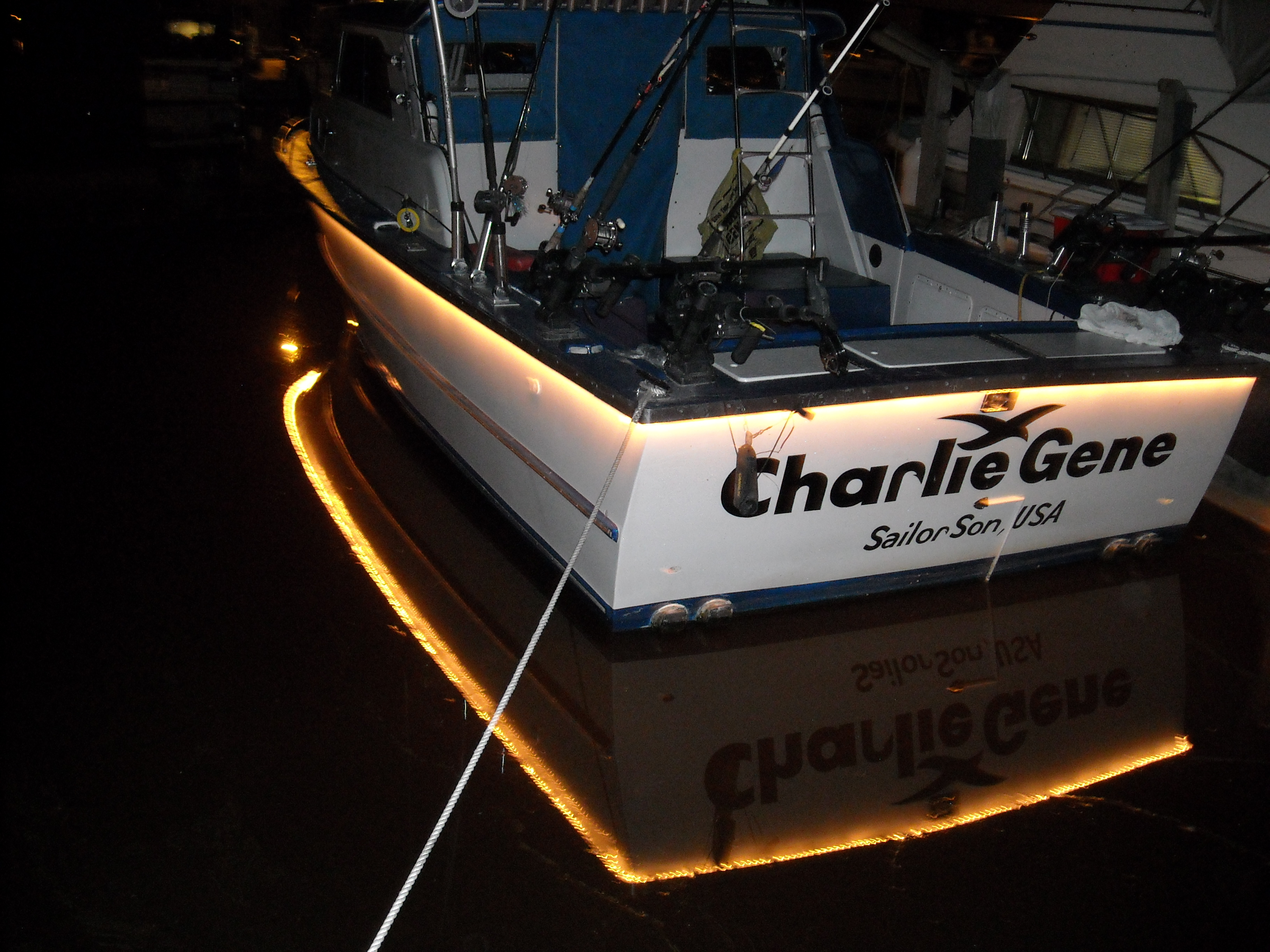 Here is the back of the Charlie Gene at the dock.