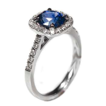 Beautiful Blue Sapphire Cushion & Diamond Ring