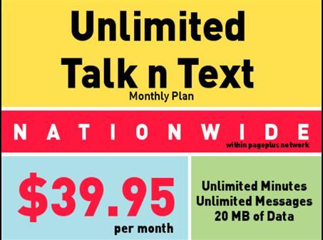 Unlimited Talk and Text WITH some WEB at 39.95 per month!