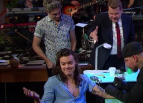 best of late night tv harry styles s late late tattoo and daisy ridley s star wars flip cup