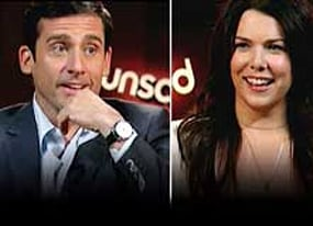 evan almighty co stars steve carell and amp lauren graham have a chat of biblical proportions