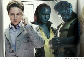 new x men first class images mystique beast and emma frost in her underwear