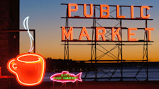 Neon sign on top of Pike Place Market, Pike Place Market, Seattle, Washington, United States.. Image shot 2006. Exact date unknown.