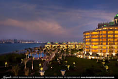 Oceana Resort & Spa - Dubai, United Arab Emirates - Night View of Hotel garden, poolside and Villas