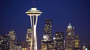 Twilight over the skyline of downtown Seattle with the space needle from Queen Anne hill