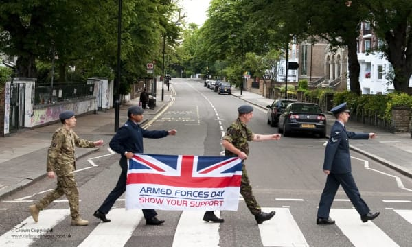 RAF Recreates Beatles' Abbey Road Album Cover for Armed Forces Day