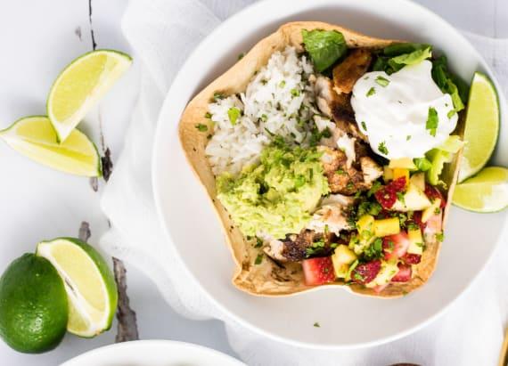 Grilled fish taco burrito bowls