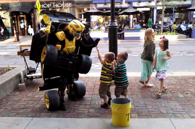 Real-life Transformer street performer