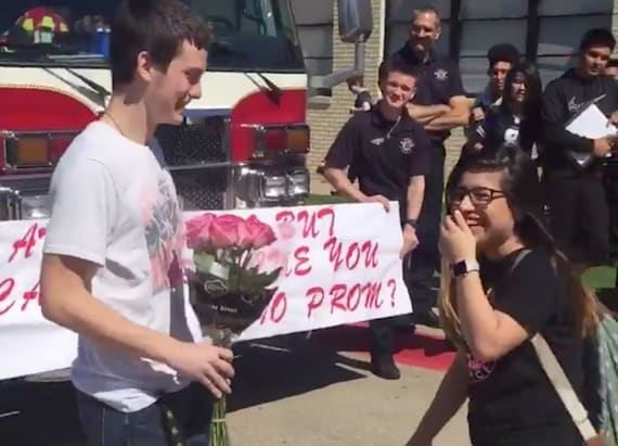 Fire department helps with promposal