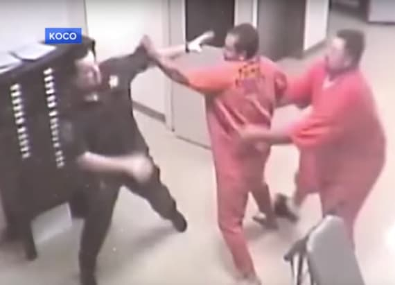 Inmate stops other inmate from attacking officer