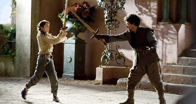 Arya and Syrio on Game of Thrones