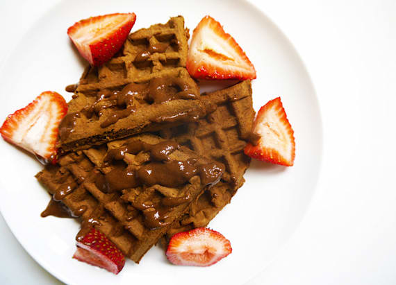 Double chocolate strawberry waffles