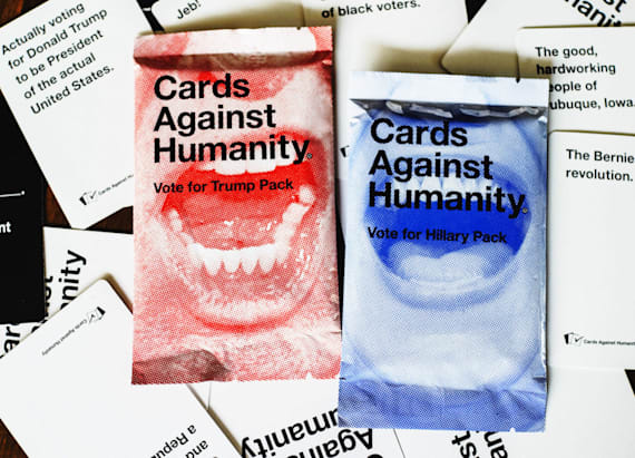 'Hillary' and 'Trump' cards against humanity packs