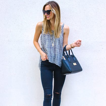 Street style tip of the day: Open back striped hi-lo top