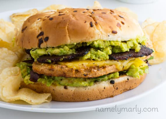 Vegan chicken sandwich with avocado