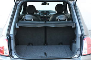 2013 Fiat 500e cargo area seats up