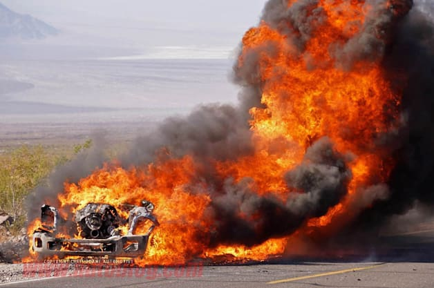 2016 Ford F-Series Super Duty prototype on fire