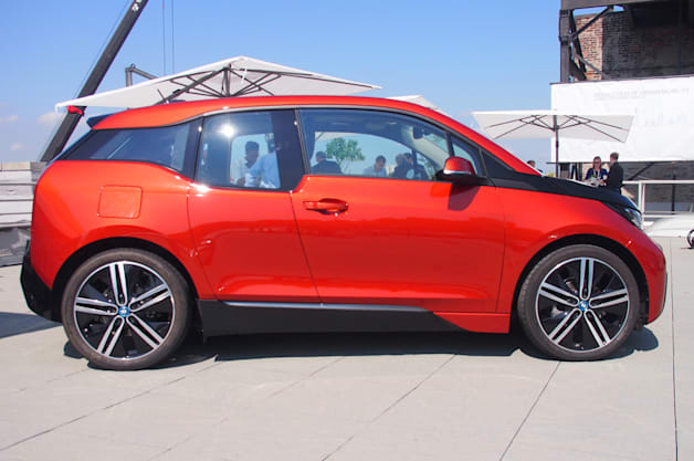orange bmw i3 side profile