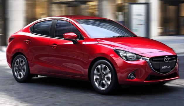 Mazda2 sedan - front three-quarter dynamic view