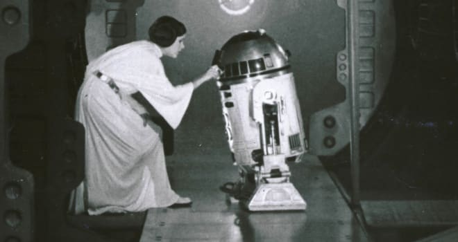 Princess Leia and R2-D2 in 'Star Wars'