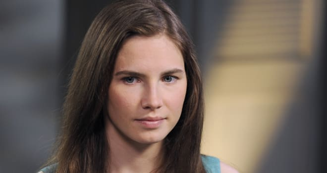 Knox Interview (This April 9, 2013 photo released by ABC shows Amanda Knox, left, speaking during a taped interview with ABC New
