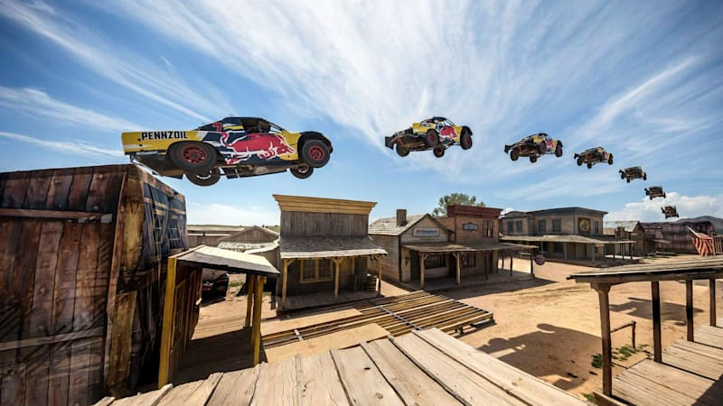 Red Bull's Bryce Menzie jumps a truck 379 feet over a ghost town