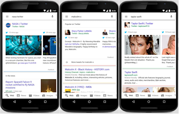 Mobile Google searches now show real-time tweets