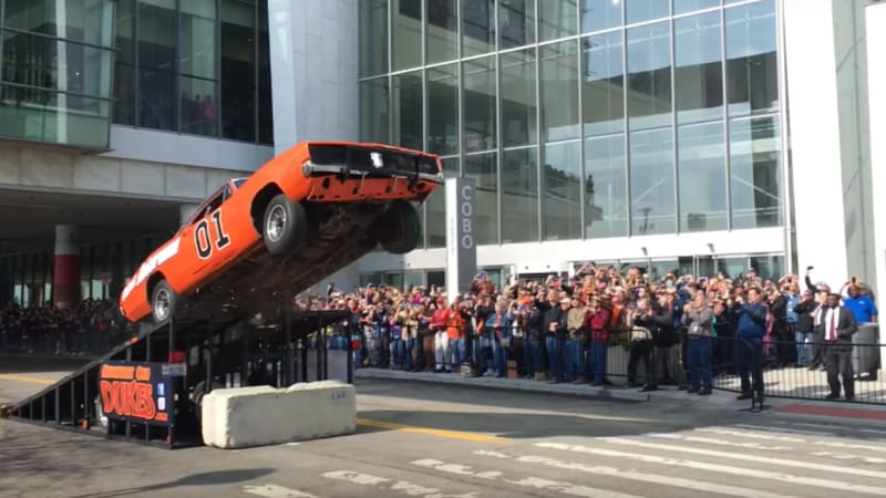 General Lee Dodge Charger replica jumps Dukes of Hazzard-style in Downtown Detroit