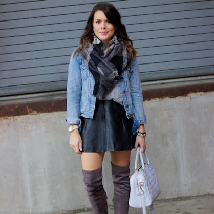 Street style tip of the day: Denim jacket + leather skirt love