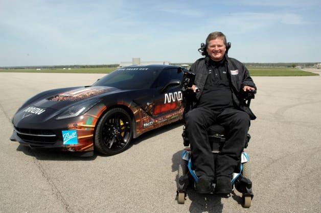 Sam Schmidt and the SAM (semi-autonomous motorcar) Chevrolet Corvette