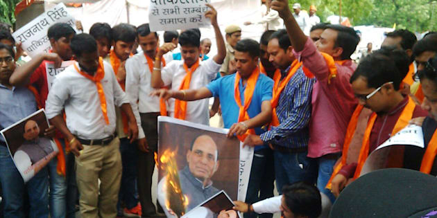 A Hindu Outfit Is Protesting Rajnath Singh's Pakistan Visit By Burning His Effigies