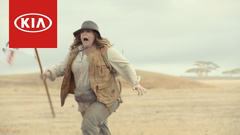 Melissa McCarthy sent fleeing in the Kia Niro Super Bowl teaser