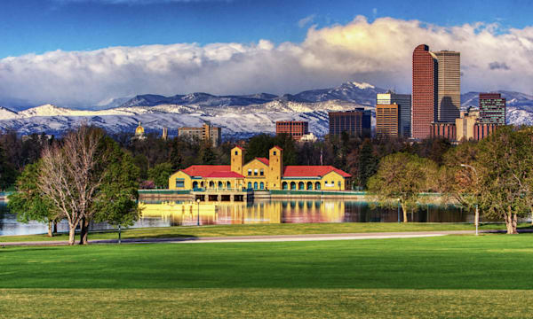 City Park Pavilion In Front Of The Rockies And Denver Skyline