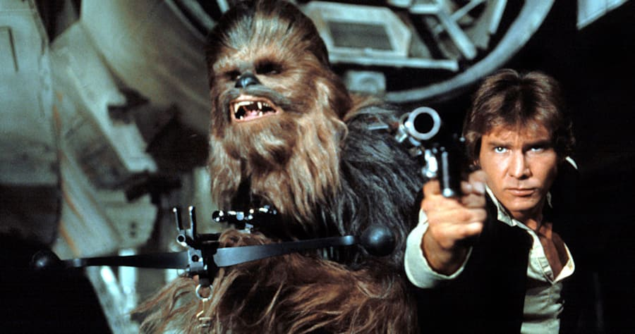 STAR WARS, (aka STAR WARS: EPISODE IV - A NEW HOPE), Chewbacca, Harrison Ford, 1977