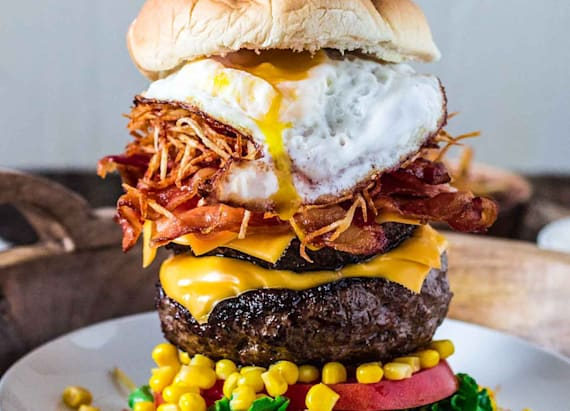Epic burger topped with a fried egg